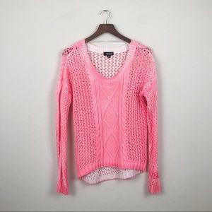 ANA Crochet Sweater Hot Pink Petite XL